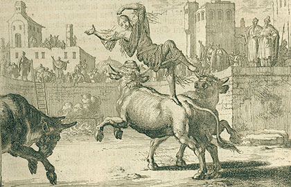 young woman faces beasts in the arena
