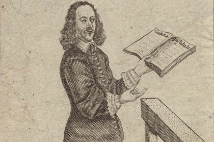 John Lilburne with a book in hand